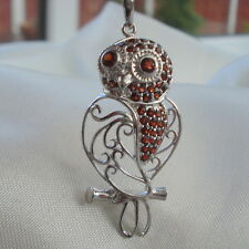 "0.89ct Certified Mozambique Garnet Animal Design  ""Owl"" Sterling Silver Necklace"