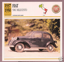 1937-1950 Fiat 508C Millecento Car Photo Spec Sheet Info Stat French Atlas Card