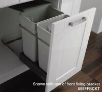 Pull-out waste bin, 2 x 35 litres, light grey bins with
