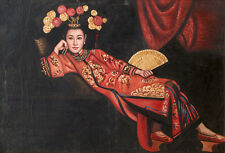 """Art Oil painting Chinese beauty Qing Dynasty court lady on canvas 24""""x36"""""""