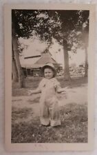 "Vintage Old Photo Cute Little Farm Boy Overalls Arms Open Wide ""what did I do?"""