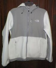 Women's M The North Face Denali Hoodie Jacket Gray/Off-White Fleece