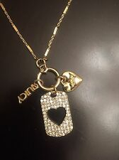 JUICY COUTURE DOUBLE NECKLACE SET Hearts & Crown. 2 Necklaces!  Msrp $30