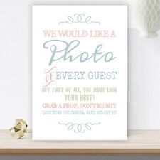 Pastel Coloured Photo Booth Table Sign for Wedding Party Props White Card (C21)