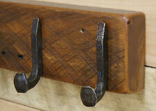 "18"" Reclaimed Vintage White Pine Coat Rack with 3 Railroad Spike Hooks"