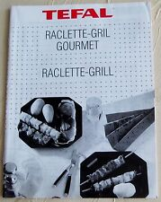 """Tefal Gebrauchsanweisung """"Raclette-Grill"""" mit Rezepten"""