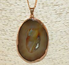 "Brown & Green Agate Raw Druzy Centre Geode Gemstone Pendant 26"" Gold Necklace"