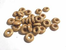 50pcs 15mm WOODEN Washer / Donut SPACER Beads - BROWN