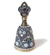 RUSSIAN IMPERIAL SILVER & CLOISONNÉ ENAMELED PERFUME BOTTLE BY 11TH ARTEL