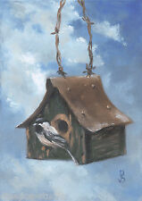 "Daily Painting a Day Sepos ""Home At Last, Chickadee"" birds tin roof birdhouse"