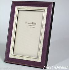 Natalini Hand Made Italian Marquetry Purple White Gold 4x6 Photo Picture Frame