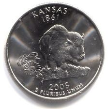 U.S. Kansas Buffalo Sunflower State Quarter 2005 P Coin Philadelphia Mint