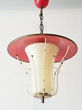 ADORABLE LAMPE SUSPENSION LUSTRE LANTERNE ROUGE 1950 VINTAGE ROCKABILLY 50S 50's