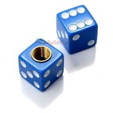 (2) Blue Dice Old School BMX Bike Tire Stem Valve Caps Covers