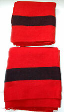 Two Vintage Hudson Bay Blankets - Scarlet with Wide Black Stripe)