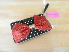 Betsey Johnson Red Sequined Bow Clutch Purse MSRP $75
