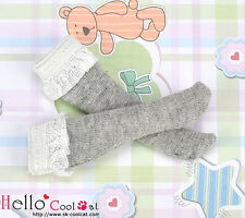☆╮Cool Cat╭☆【KS-C03】Blythe/Pullip Lace Top Below Knee Doll Socks # Grey