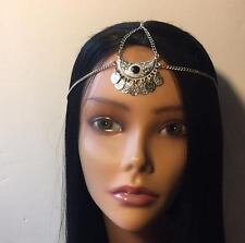Silver Coin Goddess Head Chain Hair Jewelry Grecian Boho Gypsy Tribal Accessory