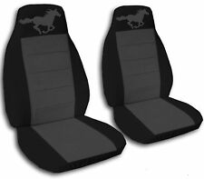 Black and Charcoal Horse Seat Covers  2008-2012 Ford Mustang Airbag Friendly