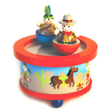 New in box wooden Western Cowboy Indian Girl spinning music box