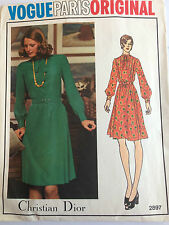 Vintage Vogue Paris Original Christian Dior DRESS Sewing Pattern Size10 Cut 2897