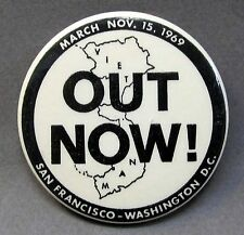 San Francisco - Washington 1969 OUT NOW! Map of Vietnam anti War pinback button