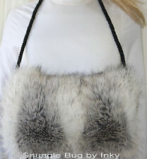 Silver Fox Faux Fake Fur MUFF with Neckcord Hand Warmer Soft Gorgeous Brand New