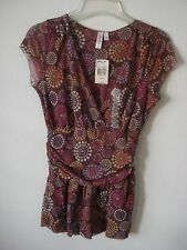 Sweet Pea Women's Blouse Top Stretch Brown Floral SZ L V-Neck Mesh Short Sleeve