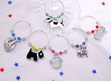 Set of 6 Dog Collection Wine Glass Charms. Swarovski Elements. Wine Identifiers