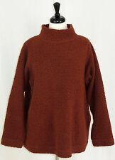 Eileen Fisher Boucle Wool Blend Sweater Pullover Rust Brown Pockets M