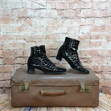 Ladies Gabor Black Patent Zip Up Snakeskin Look Ankle Boots Shoes UK 6