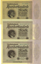 Germany 1923 100000 Mark P-83 Lot of 3 Notes High Grade EF+/AU