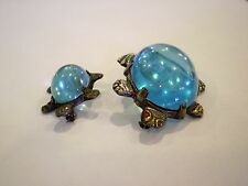 Vintage Retro Jelly Belly Blue Lucite Pair of Sea Turtles Scatter Pins Brooch