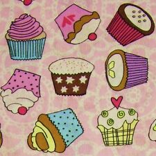 Candy Pink White 100% Cotton Cupcakes Fabric *Per Metre