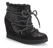 Juicy Couture NEW SZ 7 Women's Mareen Lace Up Wedge Sport Ankle Boot Black $89