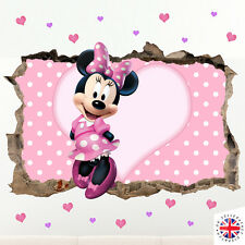 3d Disney Minnie Mouse Wall Sticker Vinyl Vivaio Ragazze Baby a pois rosa