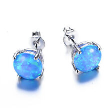 Sweet Blue Fire Opal Ear Studs Silver Plated Stud Earrings Women's Jewellery