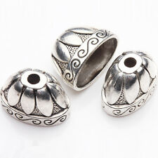 5Pcs Tibetan Silver Plated Carved Flower Pattern Spacer Bead Caps DIY 20*13*12mm