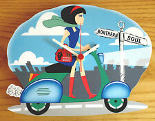 Scooter Wall Clock, Northern Soul Wall Clock, GS PX LI TV SX Scooter girl clock