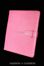 iPad 2 3 & 4 (Pink Soft Lambskin) Genuine Real Leather Cover Case Stand Folio