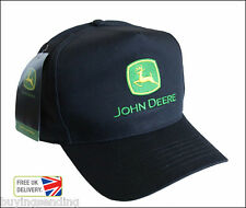 BRAND NEW LICENSED JOHN DEERE BLACK COTTON CAP BASEBALL HIGH FLAT FRONT HAT