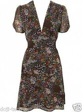 Topshop Ditsy Floral Lined Chiffon Flower Print 40s Vtg Tea Day Dress 12 40 US8