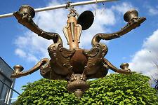 unusual French art deco 1930 bronze wood phoenix bird chandelier