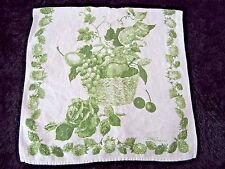 Vintage French Country Luther Travis Linen Tea Dish Towel Green Fruit Basket