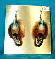 Pheasant Feather Earrings w Real Turquoise Stone Regalia FREE SHIPPING FE03