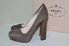 New  sz 9.5 / 39.5 Prada Gray Suede Platform Classic Pump Heel Women Shoes
