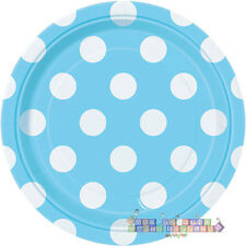 POWDER BLUE POLKA DOTS SMALL PAPER PLATES (8) ~ Baby Shower Party Supplies Cake