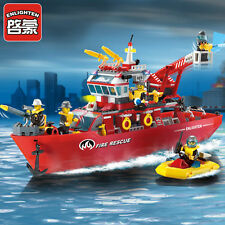 ENLIGHTEN Fire Rescue Multi-Function Boat Building Blocks Minifigures Toys