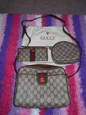 AUTHENTIC GUCCI MONOGRAM HANDBAG WITH MATCHING WALLET AND COSMETIC CASE