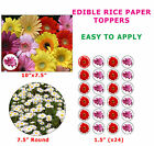 Daisy Flower Cake/Cupcake Topper Flower Decorations On Edible Wafer Rice Paper